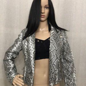 Vigoss snake print faux leather jacket NWT